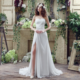 Real Sexy Pictures Canada - New Vestidos de Novia Wedding Gowns 2018 Sexy Side Splite A Line Sweep train Corset Real Picture Chiffon Beach Cheap Bridal Gowns in Stock