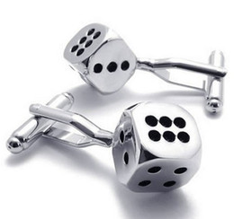 $enCountryForm.capitalKeyWord UK - Rhodium Plated Classic Personalized Lucky Dice Shirts Mens Cufflinks Color Silver Black 1 Pair Set Drop Shpping