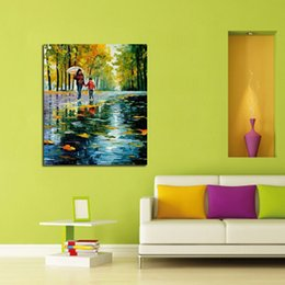 Beautiful Oil Paintings Pictures Scenery Canada - High Quality Wall Art Handpainted Oil Painting Beautiful Love Scenery Abstract Oil Paintings on Canvas Modern Pictures Home Decoration