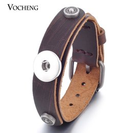 noosa ginger snap buttons Australia - NOOSA Ginger Snap Jewelry Genuine Leather Bracelet 2 Colors 18mm Snap Button VOCHENG NN-381