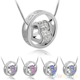 $enCountryForm.capitalKeyWord Canada - Fashion Crystal Rhinestone Love Heart Circle Charm Pendants Necklace fit Silver Plated Snake Chain Necklace Many Colors