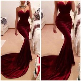 Discount runway pageant dresses - Burgundy Mermaid Trumpet Evening Dresses 2016 Vintage Sweetheart Chapel Train Formal Evening Prom Gowns Women's Pag