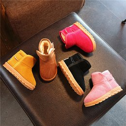 Short loop online shopping - Hot sale casual fashion thick warm winter short ankle snow boots shoes kids girls cow muscle sole black yellow colors