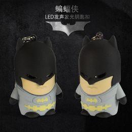 Batman Figure Wholesale Canada - Bat Man Movie Theme LED Keychain Comic figure pendant accessories Batman Key Ring Christmas Creative Present Wholesale10pcs lot