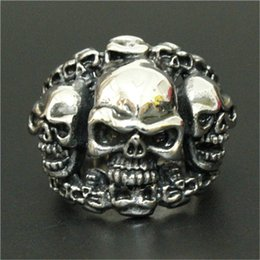 Top China Wholesale Fashion Jewelry NZ - 3pc lot Wholesale New Arrival Ghost Skull Ring 316L Stainless Steel Top Quality Men Boy Fashion Jewelry Punk Style Skull Ring
