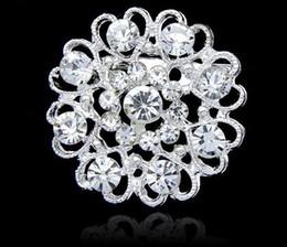 rhodium silver plated rhinestone crystal flower 2019 - Luxury bling Crystal Rhinestone flower Pins Brooches new women heart shape silver plate diamond brooch Chirstmas party c