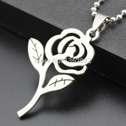 lovers gift flower NZ - Men Women's Fashion Jewelry Silver Stainless Steel Rose Flower Couple Pendant Necklace Lovers' Gift MN291
