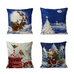 patterned car seat cushions Canada - Santa pattern pillow linen cotton square pillow cover 43cm * 43c household goods car seat cushion pillowcase