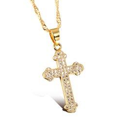 Discount vintage copper cross pendant necklace 2018 vintage 2018 vintage copper cross pendant necklace aaa cubic zirconia cross woman necklaces vintage gold color women aloadofball Choice Image