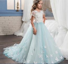 Fotos reales Vestido de bola Vestidos de princesa boda de niña de flores 2018 Vestidos de cumpleaños de niña de comunión tutu alta calidad
