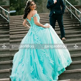 2018 New Ball Gown Prom Dresses with Lace Turquoise Beaded Pearls Off the  Shoulder Tulle Long Formal Dresses Evening Party Wear 14e057d196a1