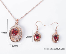 ruby crystal bridal necklace sets UK - Fashion Austria Crystal Necklace Earrings Bridal Jewelry Sets Rose Gold Plated Red Ruby Wedding Jewelry Sets For Women CAL11040I
