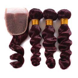 $enCountryForm.capitalKeyWord NZ - Burgundy Wine Red 99J Brazilian Virgin Hair Weave Bundles with closure Peruvian Malaysian Loose Wave Human Hair Extension