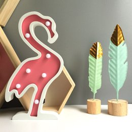 $enCountryForm.capitalKeyWord NZ - 1Pcs Wooden Cute Flamingo Led Lamp Bedside Table Lamp Children's Room Decoration Table Ornament Wall Hanging Gifts