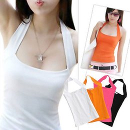 Barato Sexy Halter Baixo Sem Costas-New Sexy Women's Lady Low Cut Halter Neck Vest Shirt Tanque Backless Top S-3XL