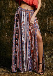 Barato Saias Grossas De Praia-Atacado- Maxi Summer Skirt Beach Long Casual Saias Moda New Womens Gypsy Boho Tribal Floral Saias