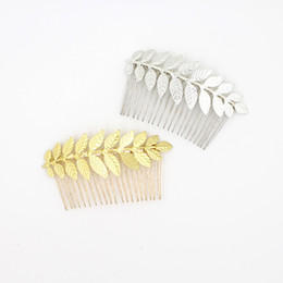 leave hair comb NZ - Gold Silver Hair Combs Tiaras For Wedding Brides Hair Accessories Handmade Leaves Vintage Rhinestones Bridal Hair Combs For Wedding