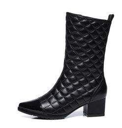 $enCountryForm.capitalKeyWord Canada - Women winter Genuine Leather boots Top Quality Fashion Brand Ladies soft Sexy Stitching lattice Thick heel Pointed zipper boot plus size