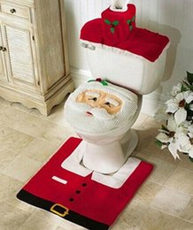 Red seat coveRs online shopping - Fashion Hot Happy Santa Toilet Seat Cover Rug Bathroom Set Christmas Decorations