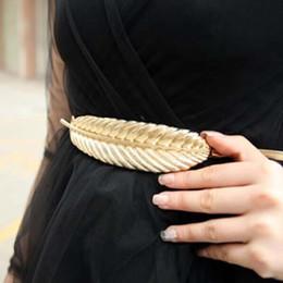 $enCountryForm.capitalKeyWord NZ - 2016 Brand Women Belts Gold Leaf Design Clasp Front Stretch Metal Waistband Belt Accessories Skinny Elastic Belts Ceinture Mujer