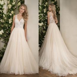 jasmine garden 2019 - Jasmine 2018 Boho Wedding Dresses Elegant Lace Appliqued Crystal V Neck Bridal Gowns Backless Garden Country Wedding Dre