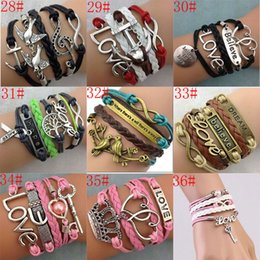 Wholesale 57 styles mixed Infinity tree of life leather bracelet Wraps bracelet Anchor love wings owl Bracelet