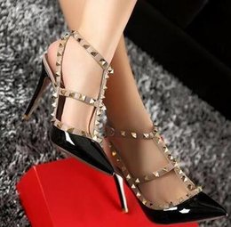 Gold dress shoes straps online shopping - Designer Pointed Toe Strap with Studs high heels Patent Leather rivets Sandals Women Studded Strappy Dress Shoes valentine high heel Shoes