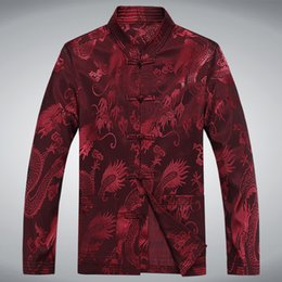 Hommes À Collier Verrouillé Pas Cher-Automne 2015 Hommes Tang Costume chinois traditionnel Kung Fu Vêtements dragon broderie Cord-lock Madarin Collar leader Mao Jacket