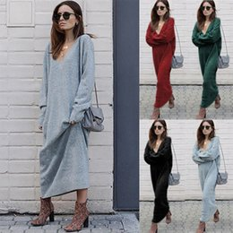 $enCountryForm.capitalKeyWord NZ - Ladies Fashion Fall V-Neck Casual Long Sleeved Slim Fit Long Dress Womens Solid Color Winter Autumn Dresses