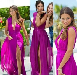 41ca1662b55 Discount petite maxi dress split - Fuchsia Chiffon High Slit Long Prom  Dresses Deep V Neck