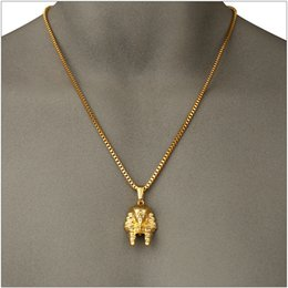 Egypt Pendants Australia - Vananya Egypt Jewelry Pharaoh Pendant Necklace For Men Women Vintage Jewelry Stainless Steel Gold Color Chain Necklace