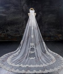 Hot Veils NZ - In Stock beautiful Hot Sale White Ivory two layer 3m or 4 meter long length lace Bridal Veil