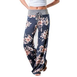 Barato Atacando Mais Legging-Wholesale-Causal Women Autumn Flower Print Calças 2017 Drawstring Wide Leg Pants Loose Straight Trousers Long Feminino Plus Size Trousers