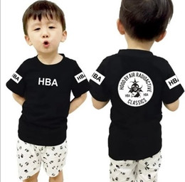 Hood Air Black Tee NZ - free shipping summer kids t shirt children tee shirt Hood By Air Radioactive Classics HBA Trill Kanye West t shirt 6 color 100% cotton