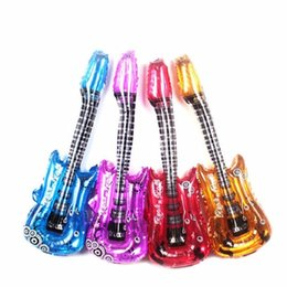 Inflatable guItar toys online shopping - Colorful Single side guitar balloons x80cm inflatable air globos party supplies kids toys birthday ballons child gifts
