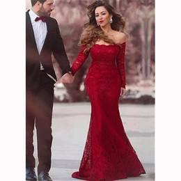 Barato Vestidos De Baile De Renda Vermelha Simples-Elegant Lace Mermaid Long Evening Dress 2017 Sexy Bateau Decote Vinho simples Red Prom Festa Vestidos Robe De Soiree Longue Evening Gowns