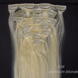 """Platinum Product Canada - Clip in Hair Extensions Brazilian Peruvian Indian Malaysian Straight Virgin Remy Human Hair Products 15""""-26"""" 7pcs 60# Platinum Blonde"""