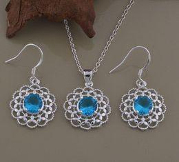 $enCountryForm.capitalKeyWord Canada - Fashion charm pendant Blue crystal flowers 925 silver Earring necklace jewelry sets 10set lot