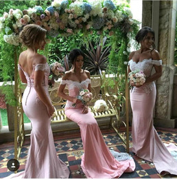 Wholesale open skirts for sale - Group buy 2016 Off Shoulder White Lace Top Satin Skirt Mermaid Bridesmaid Dresses Button Covered Open Back Wedding Party Dresses Vestidos Robe BO9266
