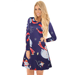 Chinese  Christmas snowman women clothes plus size dress long-sleeved cartoon print womens casual designer party night club dresses vestidos manufacturers