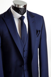 Barato Gravata Azul Escuro Da Veste-2015 Custom Made Groom Tuxedos Dark Blue Wedding Suits Imagem real Groomsmen Best Man Prom Fatos formais (Jacket + Pants + Vest + Tie + Hanky)