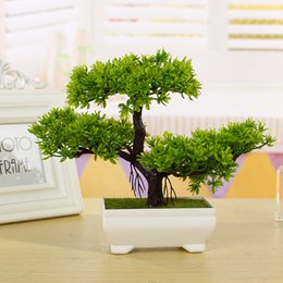 2018 Artificial Plants For Living Room New Fashion Plastic Artificial Tree  Plants Ceramics Bonsai Tree Pot