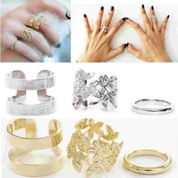 Discount hottest girls ring finger - 3Pcs Set Hot Punk Girls Metall Gold Silver Leaf Above Knuckle Finger Ring Band Rings Jewelry