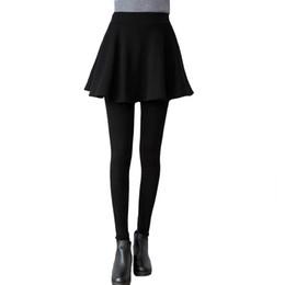 Gray Cotton Leggings Australia - Winter Plus Velvet Leggings Skirt Thick Warm High Waist Cotton Fake Two Leggings Skirt High Quality Elegant Female Pants
