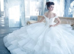custom short gown NZ - 2019 Luxury Ball Gown Wedding Dresses Off Shoulder Short Sleeve Lace Tulle Court Train Bridal Gowns Lace up Back Custom Made W974
