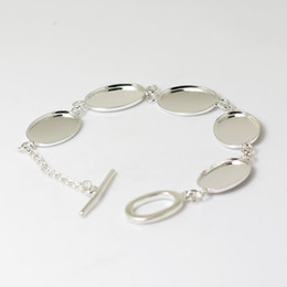 Blank Bezels Canada - Beadsnice bracelet bezels link bracelet blank cabochon settings cameo base 13x 18mm oval brass pendant blanks free shipping ID 4825