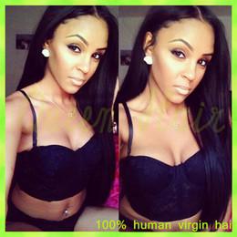 $enCountryForm.capitalKeyWord NZ - Silky Straight Glueless Full Lace Human Hair Wigs Brazilian Virgin Hair Lace Front Wig For Black Women With Baby Hair Bob Wig