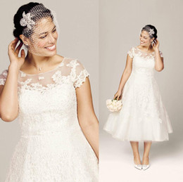 buy gowns Canada - 2015 New Classic Wedding Dresses Beach Plus Size Bridal Gowns With A Line Sheer Neckline Lace Tea-length Cap Sleeves Buy One Dress Get Veil