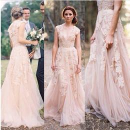 Vintage 2018 Blush Lace Beach Garden Wedding Dresses Sexy Vestido De Noiva Deep V Neck Cap