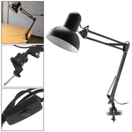 flexible arm clamp NZ - Black E27 Flexible Swing Arm Desk Lamp with Rotatable Lamp Head And Clamp Mount Support 360 Degree Rotation for Office Home LEG_313